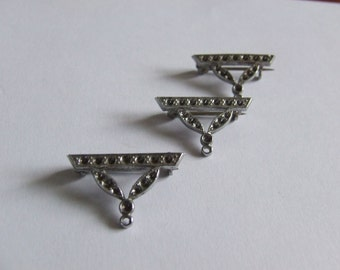 Art Deco 1920's Pendant Brooches X 4, Ready For Stone Setting; Rhodium Plated (Tarnish Resistant)  W.B's