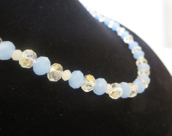 Beaded Periwinkle Blue Lilac Crystal Necklace
