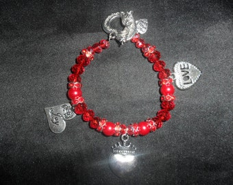 AngelMoon Creations - Crystal Glass Beads & Pearls with Tibetan Silver Hearts 3 - AM 17
