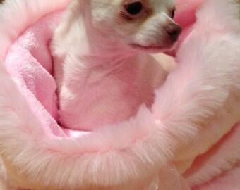 Pink luxury faux fur Chihuahua snuggle sack - Handmade in the UK