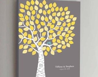 100 Guest CANVAS Wedding Guest Book Gray Wedding Tree Wedding Guestbook Canvas Alternative Guestbook Canvas Wedding Guestbook - Gray+Yellow
