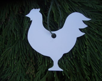 Hand Cut Rooster Gift Tag