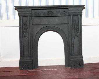 DOLLHOUSE MINIATURE Victorian Fireplace, Black