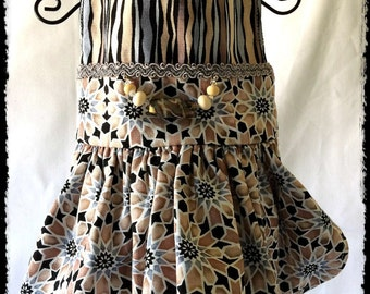 QUILT LOVERS STARS Print Dress In Softest Cotton, Matching Handmade Beads, Swarovski Crystals, Silver Trim, Artist Made, Fully Lined