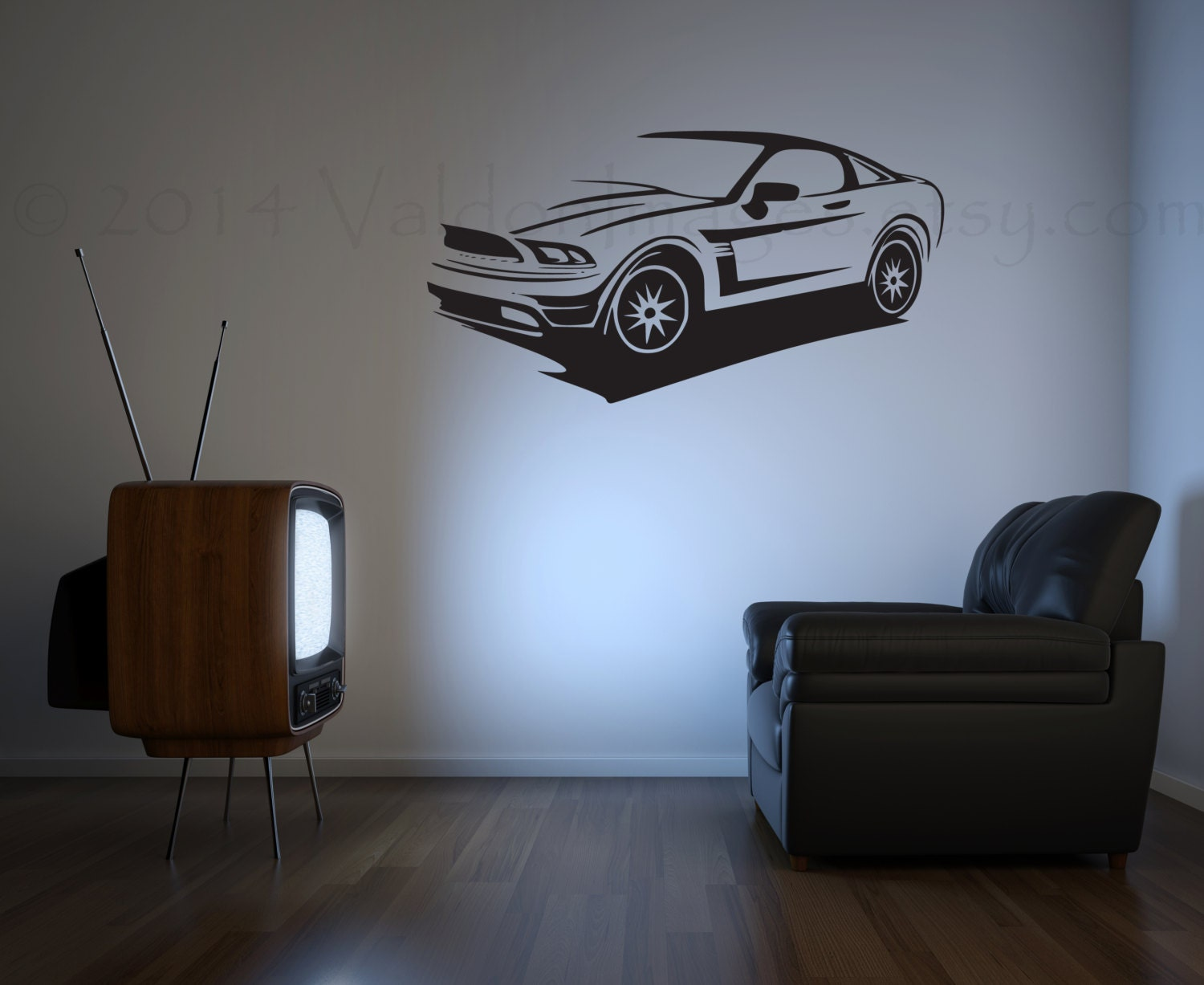 Man Cave Sports Wall Decor : Mustang sports car wall decal man cave decor game room
