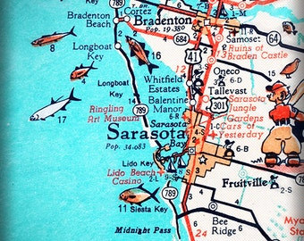 Sarasota Bradenton Retro Beach Map Print Funky Vintage Turquoise Photo Of Florida West Coast