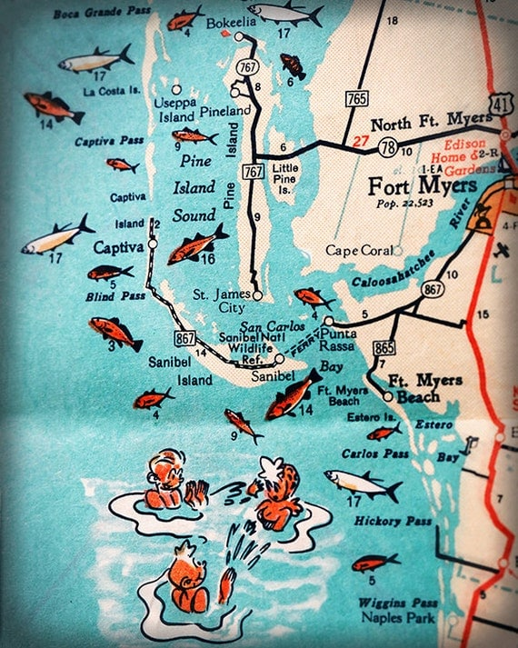 Sanibel Island Fort Myers beach retro beach map print funky