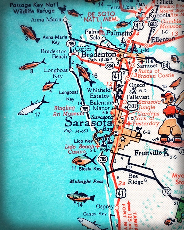 Sarasota Bradenton Retro Beach Map Print X Funky Vintage - Map of florida west coast