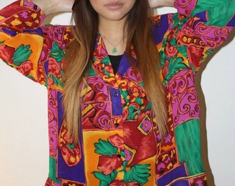 colorful chiffon blouse med/large