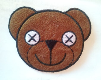 Teddy Bear Brown Head applique iron on patch