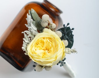 yellow garden rose boutonniere preserved rose boutonniere keepsake boutonniere groom boutonniere