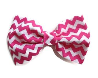 Pink Chevron Hair Bow - Chevron Hair Bow - Hair Bow - Pink and White Chevron Hair Bow - Teen Hair Bow - Hair Bow - Hair Accessory
