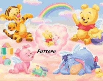 Baby Winnie the Pooh and friends. Cross Stitch Pattern. PDF Files.