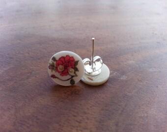 pearl stud earings with roses