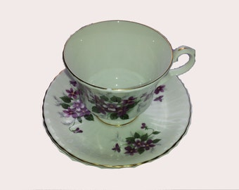 "Free Shipping on Vintage Royal Windsor Bone China Teacup and Saucer ""Purple Violets"", Serving"