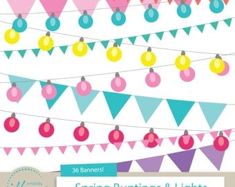 Spring Patio Lights & Bunting Banners Clipart for Digital Scrapbooking, Crafting, Invitations, Cards - Banner Clipart by Amanda Ilkov