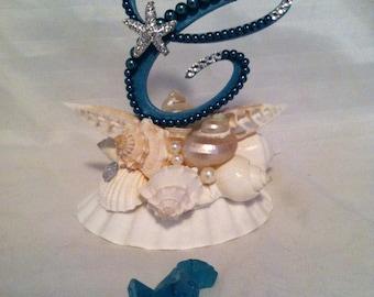 Wedding Cake Topper Shell Monogram Cake Topper With Seashells Pearls Swarovski Crystals Destination Wedding Teal