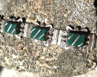 Vintage Pre Eagle Mexico Silver and Green Onyx Bracelet by Diaz Santoyo