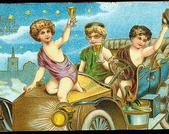 Cherubs in Automobile New Years 1907 Postcard