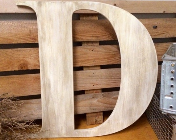 Large wooden guest book letter d 36 painted rustic for Big wooden letter b