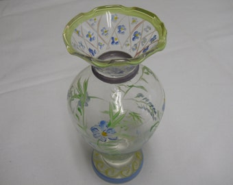 Tracy Porter Bud Vase Floral Vines Blue and Green