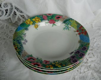 Nikko Secret Garden Fine China Soup or Salad Bowl set of four