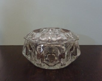 Vintage Round Pressed Glass Trinket Box