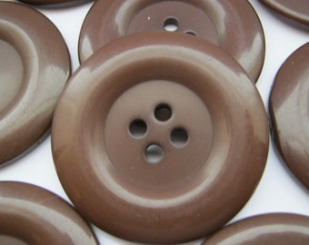 "3 Large Brown Buttons 38mm (1 1/4"") Resin Clothing Buttons Large Winter Coat Buttons Sewing Knitting Buttons"