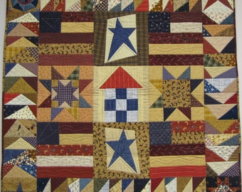 Patriotic Quilt Pattern Stars Flags House