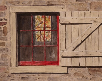 "watercolor painting, barn window, autumn,AUTUMN On The OTHER SIDE""-,scenic,11.25wx7.25h,painting ,painting of stone barn,painting of window"