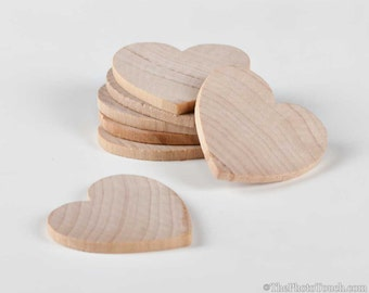 "25 Wood Hearts (Unfinished) - 1.5""x1.5"" Hearts - Wedding Drop Ins, Crafting Supplies, Scrapbooking, Raw Wooden Hearts 1 1/2 inches"