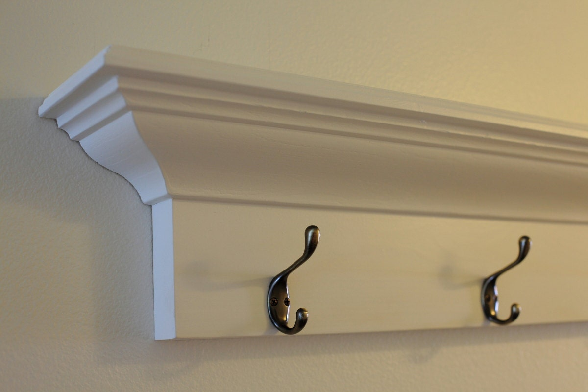 Wall coat rack white White wooden coat hooks