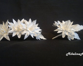 Silk Wedding Flower Set, Bridal Floral Wreath & Groom Boutonniere, White.