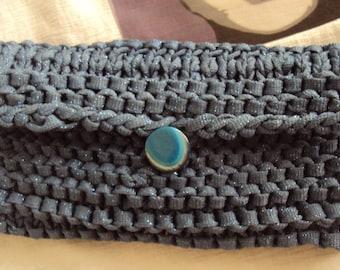 Handbag purse, knitted in dark blue
