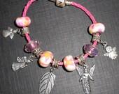 Angel Themed Beaded Charm Bracelet