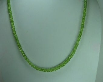 Natural Peridot Beaded Necklace, August Birthstone Necklace, Sterling Silver Lock, Green Necklace, Summer Wedding Jewelry, Gift For Her