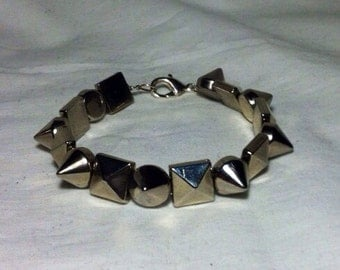 Punk Rock Silver Metal Studs and Spikes Bracelet