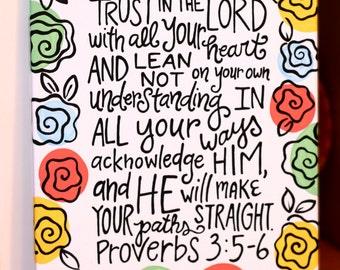 11x14 Canvas- Proverbs 3:5-6
