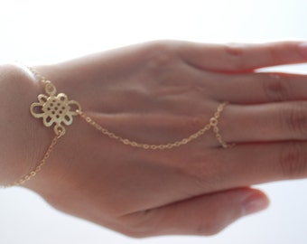 Gold Hand Chain Ring, 14kt gold Chain,Hand Chain Ring Bracelet,Finger Ring Bracelet,Slave bracelet,hand chain bracelet, Harem Bracelet