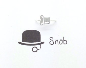 Top Hat Mustache Ring