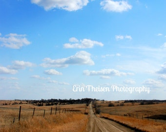 Midwest Nebraska Endless Country Minimum Maintenance Road.  Fine Art Photography Home Decor