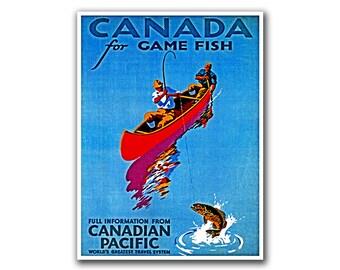 Canada Travel Poster Fishing Art Retro Decor Print (H206)