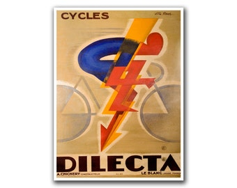 Bicycle Poster Vintage Cycling Decor Biking Art (H222)