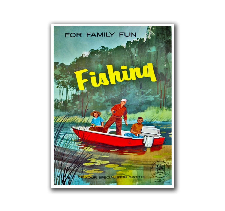 Fishing decor art vintage sports print man cave poster h35 for Fishing decor for man cave