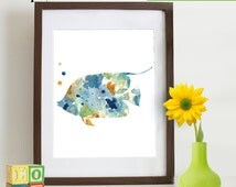 Watercolor Fish Print, Watercolor silhouettes, Sea Life, Beach theme, Nursery Print, Ocean print, Under the Sea, Item  WC004