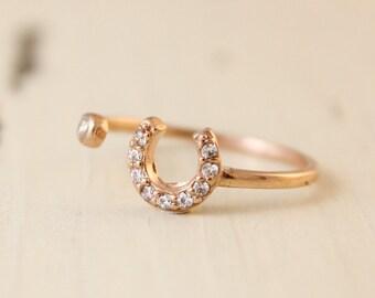 Gold Horseshoe Ring - Dual Ring - CZ, Adjustable Ring