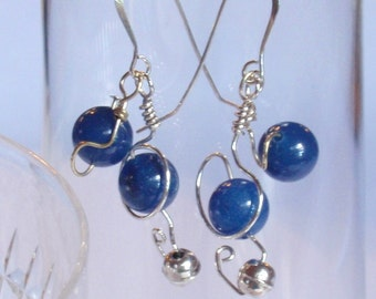A unique twist on blue beads -- for  short dangling earrings with sterling silver accent beds and sterling French hook earwires.