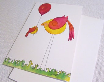 Balloon Birds All Occasion Paper Greeting Card