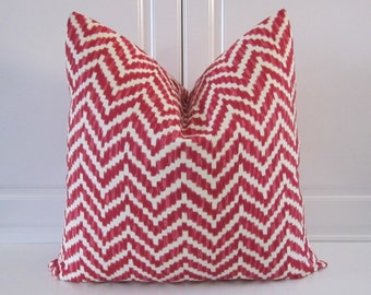 Christmas Pillow Cover- Red & White Geometric