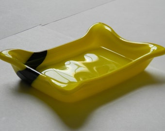 Yellow Glass Soap Dishes. Fused Glass Dishware.